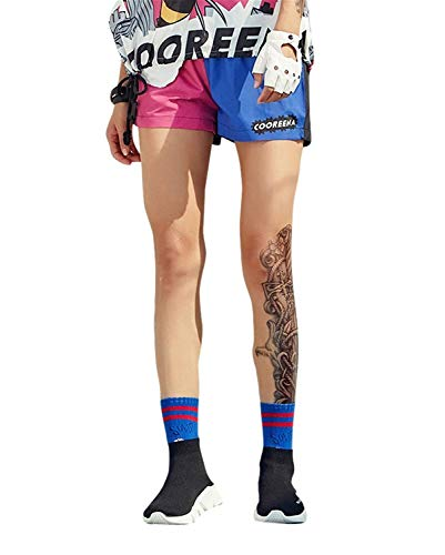 Stampato Stampato Streetwear Hip Chic Baggy Ragazza Cappuccio Cappuccio Pattern Felpa con Donne Felpe con Ragazza Cappuccio Manica Felpe Eleganti Hoodies 1 Estivi Tops Moto Casuale Moda Hop Corta Blue OZqPIa