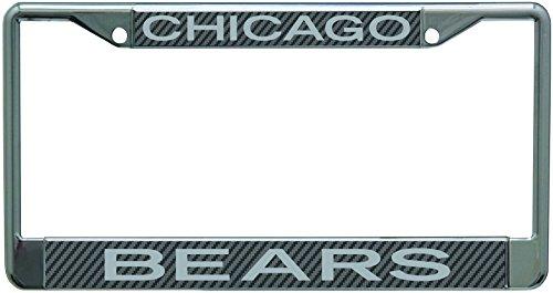 Stockdale Chicago Bears Carbon Fiber Laser Frame Chrome Metal License Plate Tag Cover (Plate License Chicago Bears Laser)