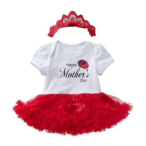 WINZIK 2PCS Mother's Day Newborn Baby Girls Outfits Costume Short Sleeve Tutu Romper Dress with Hairband Clothes Set (6-12 Months, Happy Mother's -