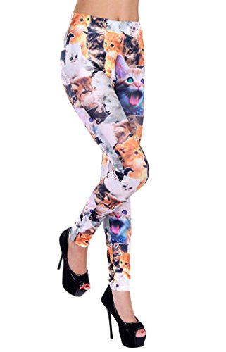 Ponce Fashion Women Hot Stylish Cats Print Punk Stretchy Legging Pants - Wigs Garth And Wayne