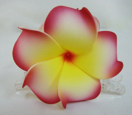 Hawaiian Plumeria Foam Flower Hair Claw Choose Color (14 Red Yellow)