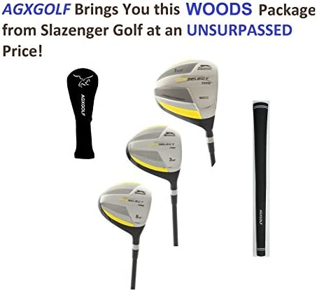 Slazenger Men's Tour Select Woods Set w460cc Over Sized Titanium Driver 3 5 Fairway Woods Graphite Shafts Head Covers Right Hand