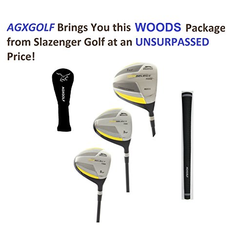 SELECT Woods Set w460cc Over Sized Titanium Driver + 3 & 5 Fairway Woods: Graphite Shafts + Head Covers Right Hand, Senior Flex, 2X-Tall Length (-2.0
