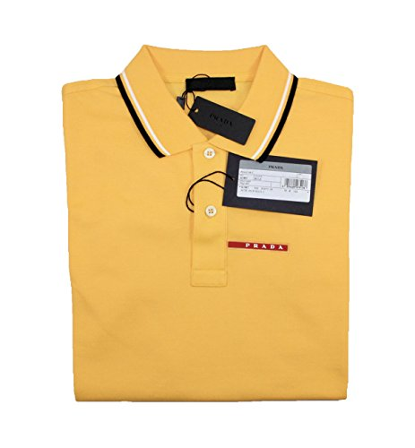 Prada Men's Cotton Piqué Short Sleeve Slim Fit Polo Shirt, Yellow (Sole) - Polo Prada
