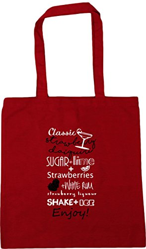 Red x38cm Classic 10 Recipe Daiquiri Tote HippoWarehouse Strawberry Bag litres Beach 42cm Shopping Gym qOUzFw
