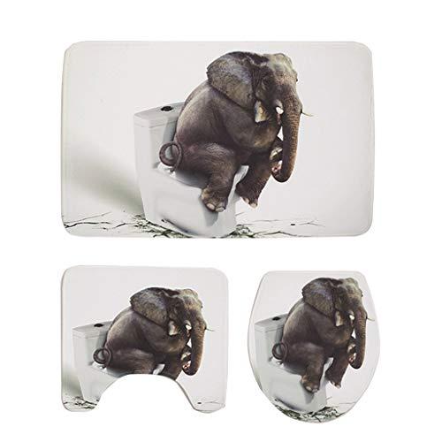 OZYN Bath Mat Rugs Set 3 Bathroom Bath Mat Three-Piece 3D Elephant Flannel Water Absorption Non-Slip Bath Mat + Pedestal Mat + Toilet Seat Cover Mat ()