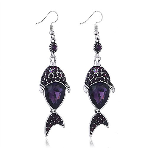 Showking Stylish and Unique Earrings Creative Earrings Women Fish Earring Rhinestone Earrings Jewellery(Purple)