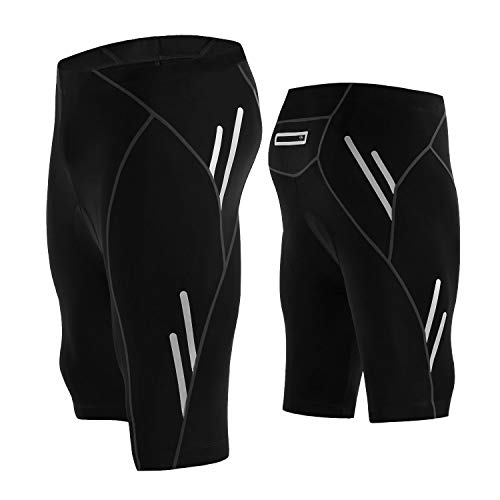 LEGENDFIT Men's Cycling Shorts 4D Padded Bicycle Riding Half Pants Compression Bike Tights Leggings Back Pocket