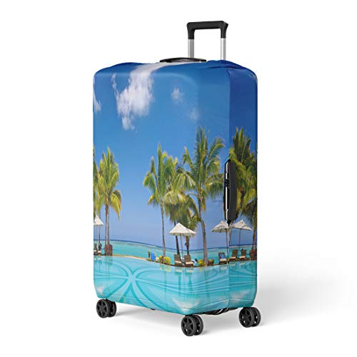 Pinbeam Luggage Cover Blue Tropical Beach Resort Lounge Chairs and Umbrellas Travel Suitcase Cover Protector Baggage Case Fits 26-28 inches