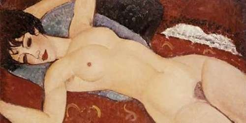 "Reclining Nude by Amedeo Modigliani - 10"" x 20"" Giclee Canvas Art Print"