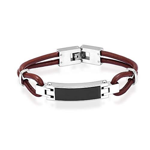 (Hearbeingt Cremation Memorial Urn Bracelet Made of Genuine Leather, 316L Stainless Steel Cremation Bangle Keepsake Urn Bracelet for Ashes, Free Fill Kit)