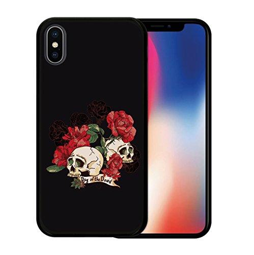 iPhone X Hülle, WoowCase Handyhülle Silikon für [ iPhone X ] Schädel und Rosen Handytasche Handy Cover Case Schutzhülle Flexible TPU - Schwarz