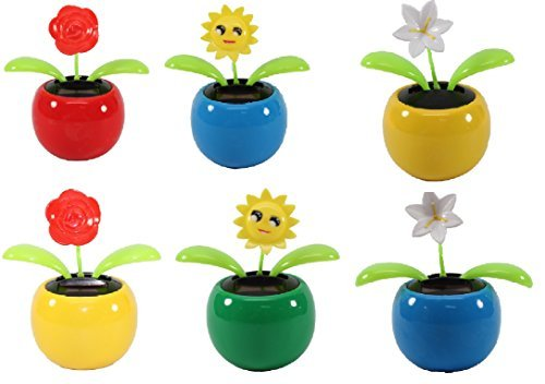 We pay your sales tax Set of 6 Dancing Flowers~ 2 Roses / 2 Smiley Sunflowers / 2 Lily in Assorted Color Pots Solar Toy Flower Great Holiday Car Dashboard Office Desk Home Decor