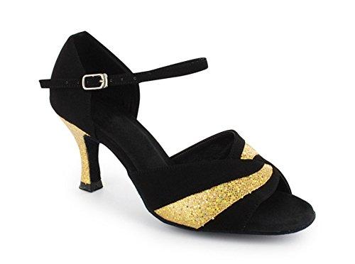 Tda Mujeres Buckle Glitter Classic High Heel Zapatos De Baile Latino Negro / Dorado