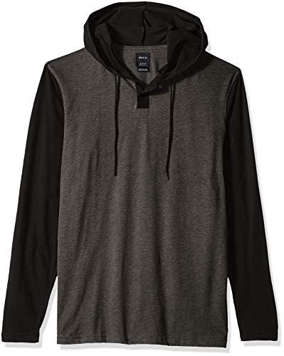 - RVCA Men's Pick UP Hooded Long Sleeve Henley Shirt, Grey/Black XL