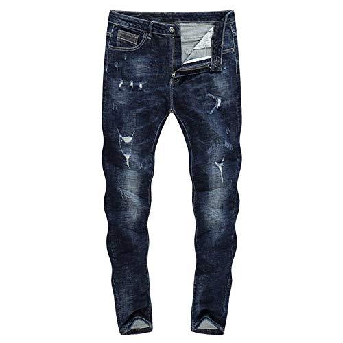 Da Abbigliamento Zlh 36 Pantaloni Uomo A Biker color Thick Size Stretch Dritta Gamba Strappati Neri Adelina 2018 Jeans 3128 ZU4zOO