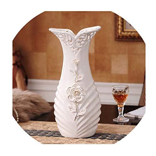 European Modern Fashion Ceramic Flower Vase for Wedding Decoration Hollow Out Decorative Table Vases for Homes - Porcelain Dragonfly Vases
