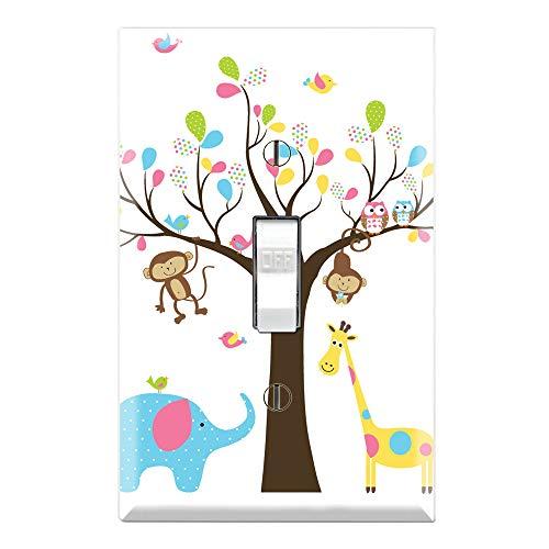 Graphics Wallplates - Monkey Giraffe Elephant Owl Tree - Single Toggle Wall Plate Cover