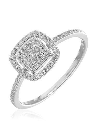 Revoni - Bague en or blanc 18 carats et diamants 0,25 carat, motif carré