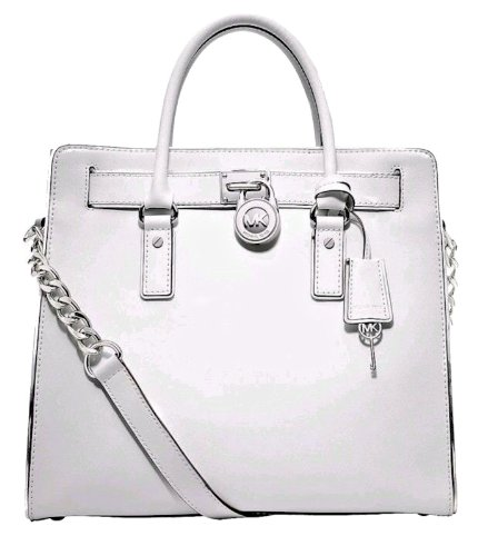 Michael Kors Hamilton Specchio Large North South Tote Optic White Genuine Leather