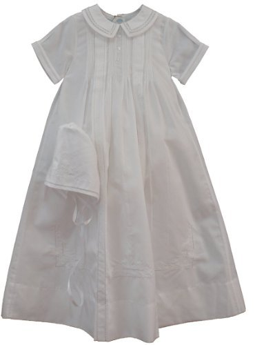 Feltman Brothers Infant Baby Boys White Embroidered Christening Gown Bonnet Set -NB to (Heirloom Baptism Gowns)