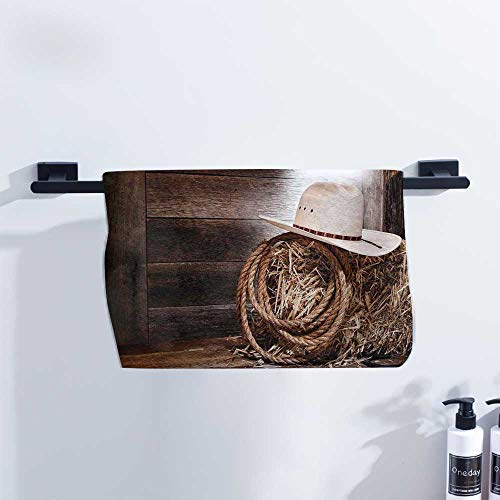 (Western Gym Towel American West Rodeo Hat with Traditional Ranching Robe on Wooden Ground Folk Art Photo for Family Guest Bathrooms Gym W14 x L14 Brown Beige)