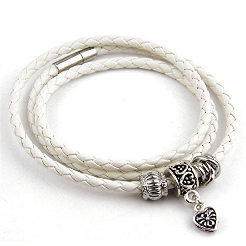 (BAMOER Leather Wrap Woven Bracelet Magnet Clasp Braided Wristband for Women Men 23