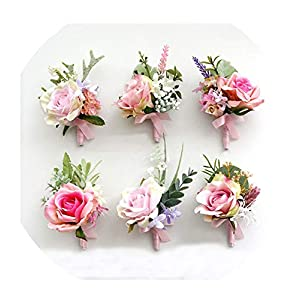 FAT BABY Boutonniere Wedding Corsages and Pink Roses Silk Flowers Groom Men Marriage Wedding Accessories 3