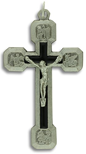 14 Stations of the Cross Crucifix With Black Inlay Large 2-1/2 Inch Rosary Crucifix - Fourteen Stations Crucifix