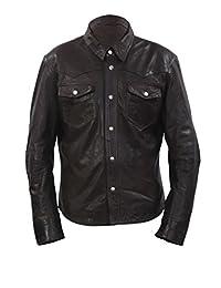 Men's Retro Denim Style Slim Fit Casual Brown Leather Shirt Jeans Jacket