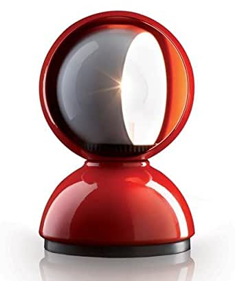 Artemide Eclisse Table Lamp Red E12 LED or Halo 25W Design Vico Magistretti 1967