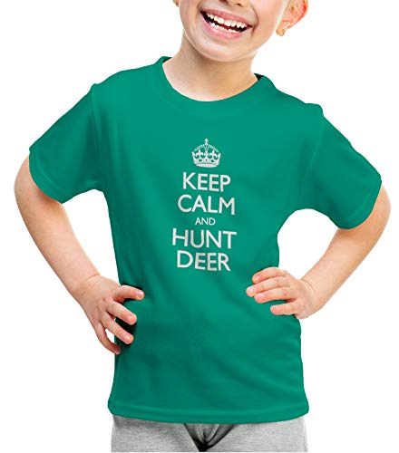 shirtloco Girls Keep Calm and Hunt Deer Youth T-Shirt, Kelly Green ()