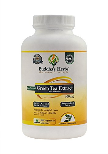 Decaffeinated Green Tea Extract - 400mg (50% EGCG) - 200 Decaffeinated Green Tea Veg Capsules - Independently Laboratory Tested
