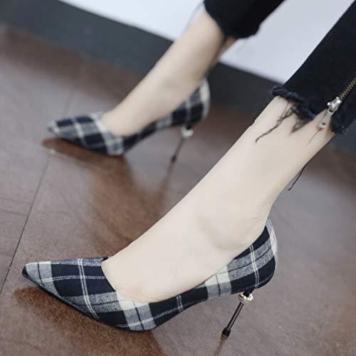 TSNMNB Negro Tartán imitación de Diamantes Viento Zapatos de Elegante de Baja de Salvaje Tacones con Boca Altos británico Las Puntiagudos Mujeres RRwqdfBr