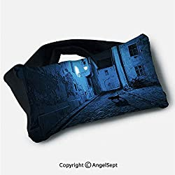 "Travel Pillow with Eyes Mask,Black Cat Crossing Deserted Street at Night Mysterious Old European Town Alley Blue Black White,5.9""x9.8"",Portable Eye Pillows for Reading Sleeping"