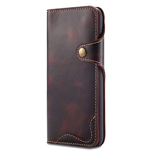 (Leather case for iPhone Xs Case iPhone Xs Max Case Retro Wallet for iPhone XR X Flip Cover iPhone Xs Max XR XS max,Wine Red with Strap,for iPhone XR)
