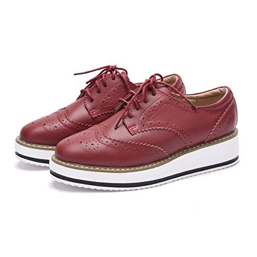 Moonwalker Zapatos con Cordones de Cuero Mujer Oxford Cuña Rojo