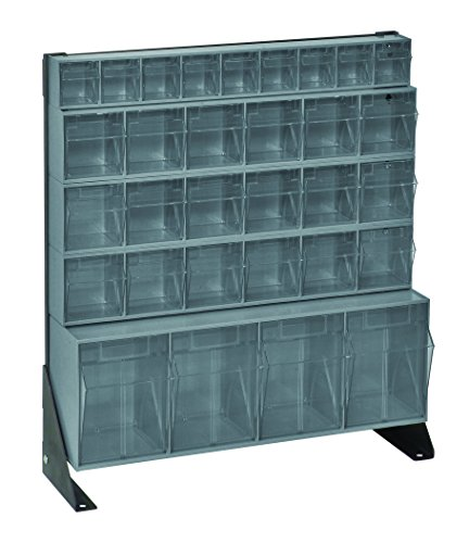 "Quantum Storage Systems QFS124-31GY Tip-Out Bin Stand with 31 Clear Tip-Out Bins, 8"" x 23-5/8"" x 28"", Grey"