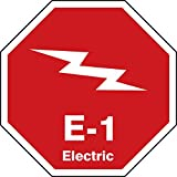 Accuform TDK301XVM Adhesive Dura-Vinyl''E-1 Electric'' Energy Source Shape ID Tag, 2.5'' W x 2.5'' L, White on Red (Pack of 5)