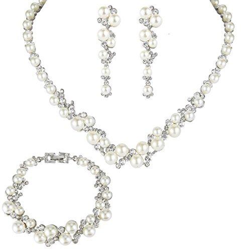 EVER FAITH Simulated Pearl Crystal Bridal Necklace Earrings Bracelet Set ()