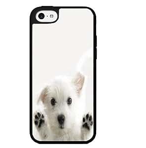White Puppy on White Background Hard Snap on Phone Case (iPhone 5c) by icecream design