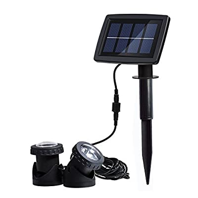 Solar Power 12 LEDs Landscape Spotlight Projection Light with 2 Submersible Lamps for Garden Pool Pond Outdoor Decoration & Lighting Underwater Light, White