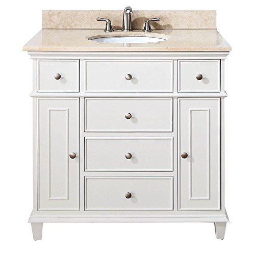 Captivating Avanity Windsor 36 In. Vanity With Galala Beige Marble Top And Undermount  Sink In White Finish   Vanity Mirrors   Amazon.com