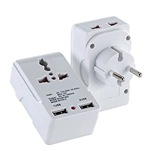 LURICO 2 USB (1A) Charging Port Universal Charger Travel Adapter For European Outlets - Type E, Type F - Europe Plug Adapter Works In Germany, France, Europe, Russia & more