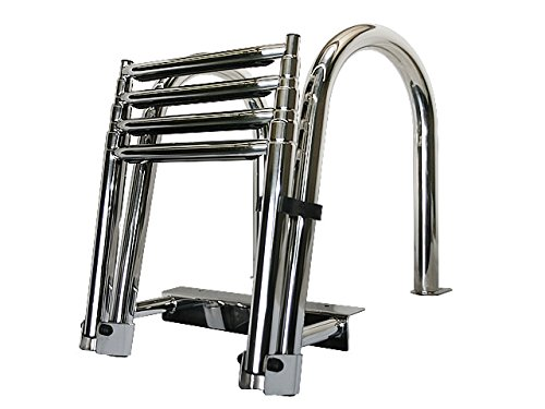 4 Step Folding Telescoping Ladder for Pontoon Boats - Stainless Steel (4 Step Dock)