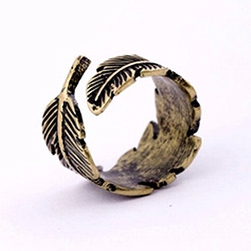 MAKIYO Feather Wrap Ring Vintage Gold Tone Plume fashion Ring