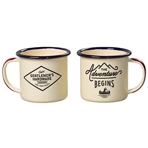 Gentlemen's Hardware Adventure Enamel Espresso Mug Set, Cream (5 Ounces)