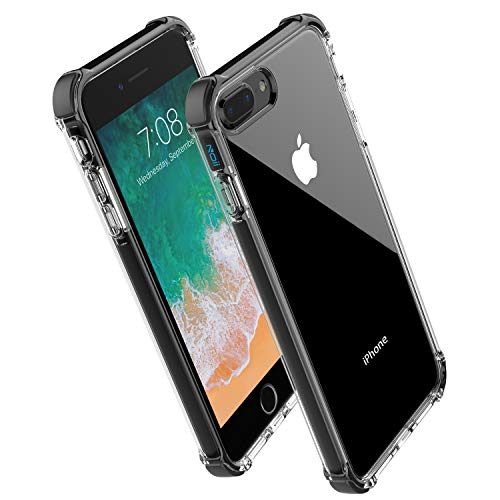 for iPhone 8 Plus case iPhone 7 Plus case,Noii Clear Hybrid Drop Protection case,[TPE Super Rubber Bumper] Shockproof case,Upgraded Reinforced Edges Technology,Heavy Duty Protective Cover -Black