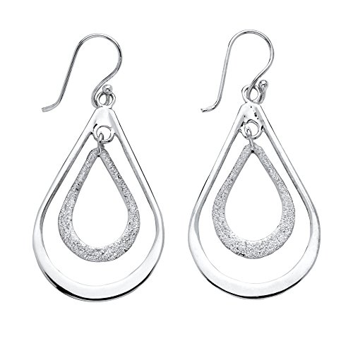 Polished and Textured .925 Sterling Silver Double Loop Drop Earrings - Tailored Pierced Earrings