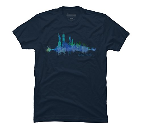 new-york-city-skyline-v05-cityscape-watercolor-mens-large-navy-graphic-t-shirt